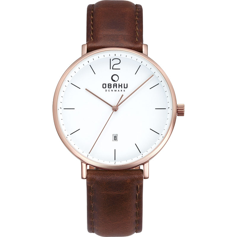 Obaku Men watch TOFT - MAHOGANY FRONT view
