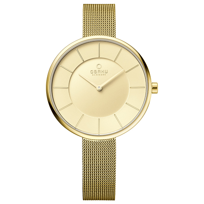 Obaku Women watch SAND - GOLD FRONT view