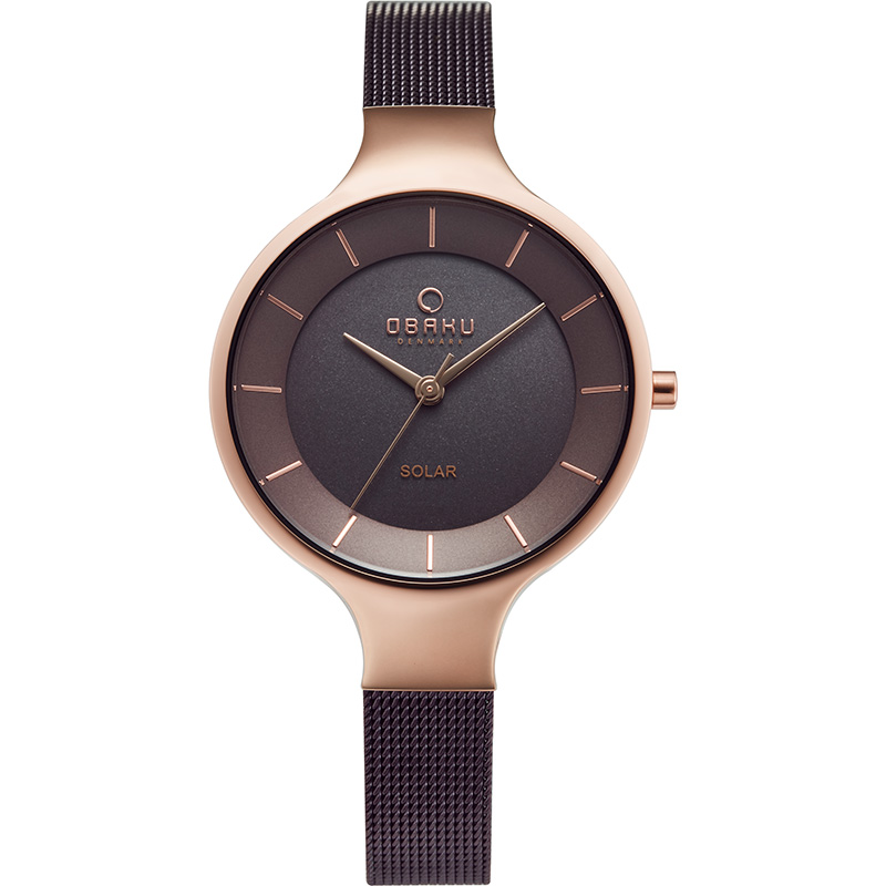 Obaku Women watch GRY - WALNUT FRONT view