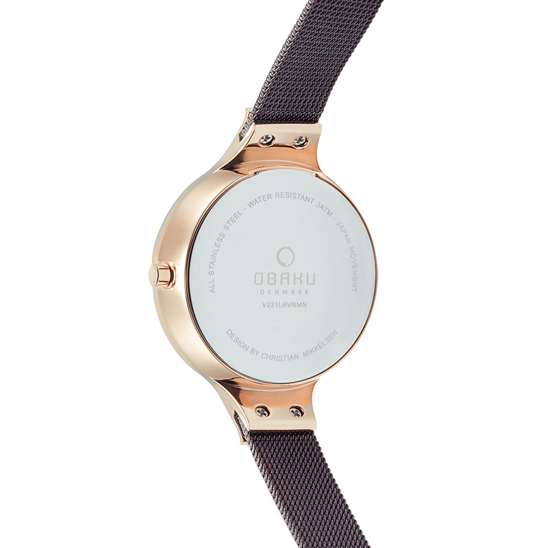 Obaku Women watch GRY - WALNUT BACK view