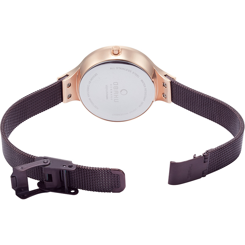 Obaku Women watch GRY - WALNUT OPEN view